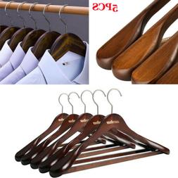 Heavy duty Wooden Wood Clothes Hangers Walnut Coat Suit Dres