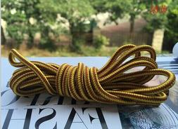Heavy duty yellow brown round boot laces shoelaces for hikin