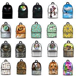 Lion Dog Wolf Canvas Backpack School Shoulder Bag Unisex Tra