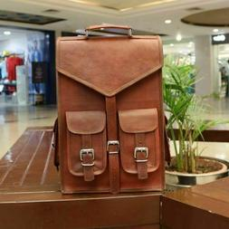Hiking Laptop Messenger Bag Heavy Duty Genuine goat skin Lea