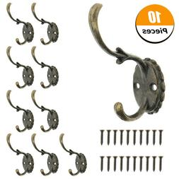 10 Pack Heavy Duty Dual Coat Hooks Wall Mounted 20 Screws Re
