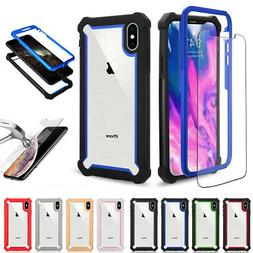 Hybrid Heavy Duty Clear Case Cover+Tempered Glass For iPhone