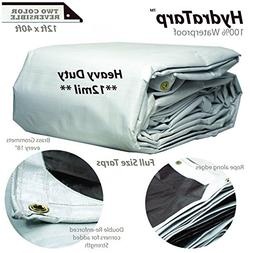 Heavy Duty Tarps Waterproof 12mil - Reversible White Brown T