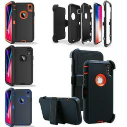 For iPhone XR XS Max Armor Hybrid Case Cover Belt Clip Fits