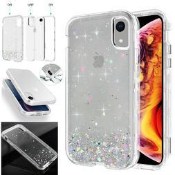 iPhone XR XS Max X Case Glitter Bling Clear Armor Heavy Duty