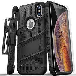 iPhone XS Max Zizo BOLT Case Cover w/ Holster + Tempered Gla