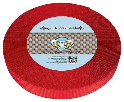1 inch bright red heavy nylon strap