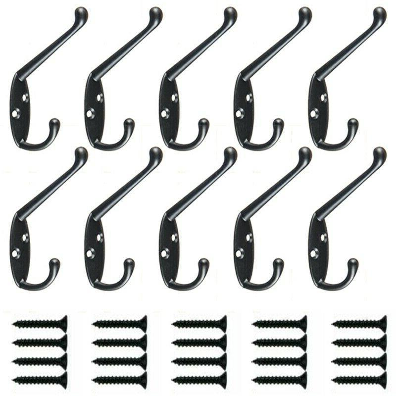 10 Pack Heavy Duty Dual Mounted Retro Double Hooks