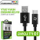 Cellet 10FT Heavy Duty Nylon Braided USB-A to USB Type-C Dat
