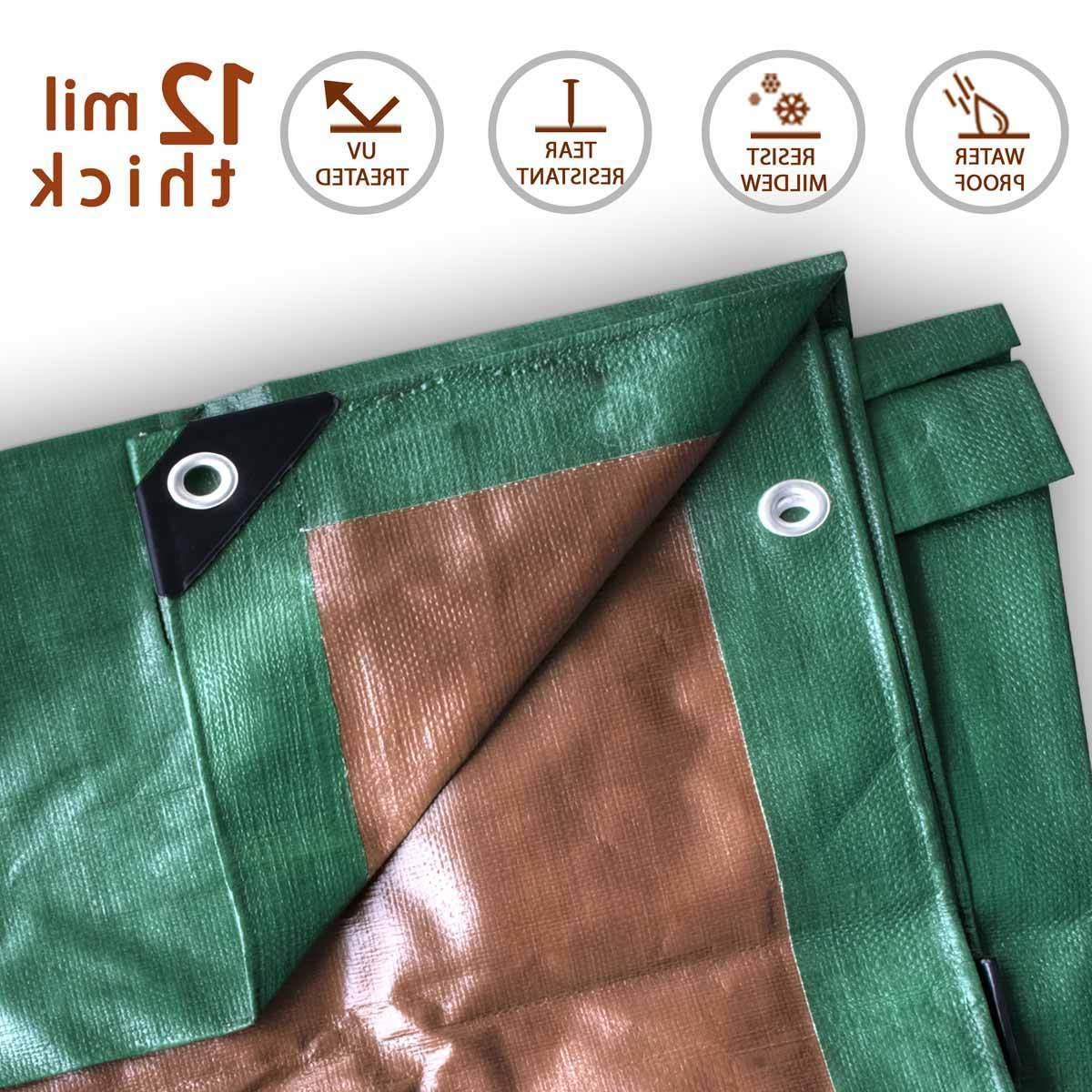 12 Mil Heavy Duty Tarp Green Brown Reversible Tarpaulin Wate