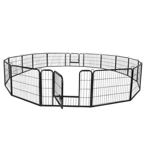 16 Panel Heavy Duty Metal Cage Crate Pet Dog Exercise Fence