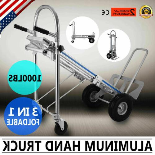 3 in 1 Aluminum Hand Truck Dolly Cart Foldable 2 or 4 Wheel