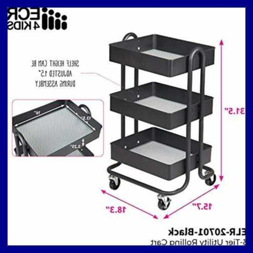 3 Utility Cart Heavy Duty Mobile Organizer Casters