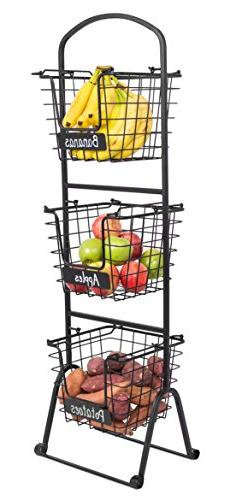 BirdRock Home 3-Tier Wire Market Basket Stand with Chalk Lab