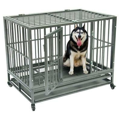 "36"" Heavy Duty Dog Cage Crate Kennel Metal Pet Playpen Porta"