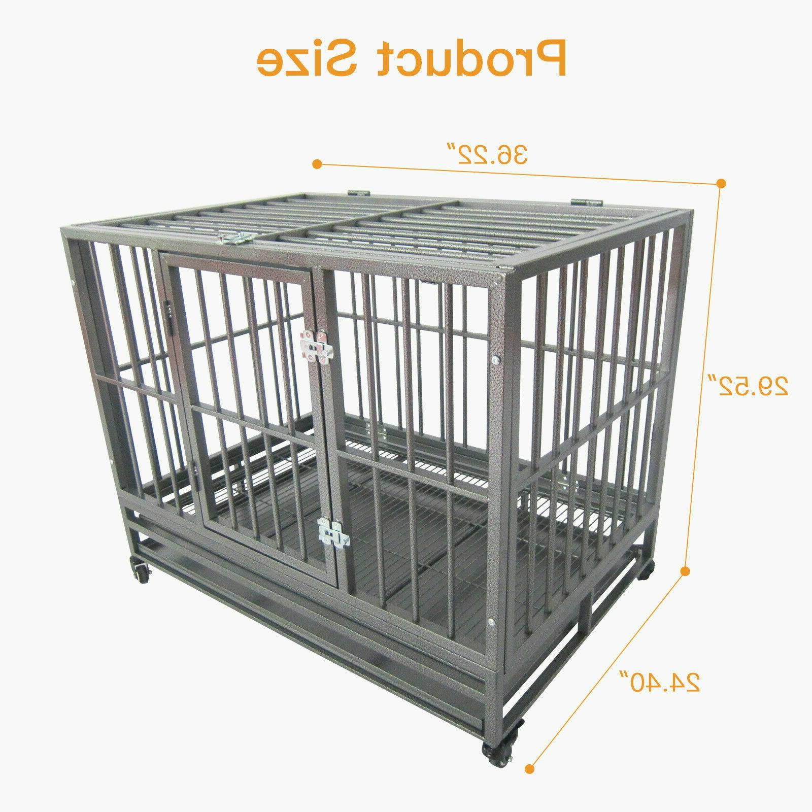 """36"""" Heavy Duty Metal Crate Kennel Cage with Tray"""