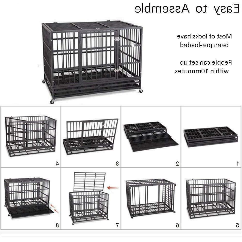 """36"""" Large Heavy Duty Metal Dog Crate Kennel Cage Playpen Tray & Wheels"""