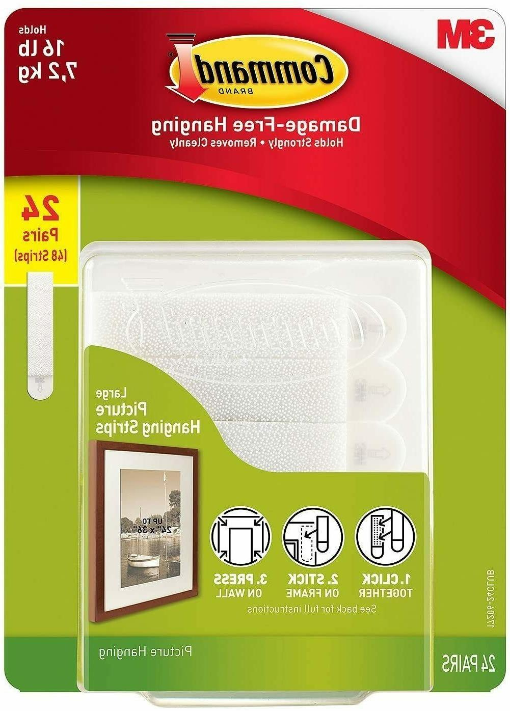 3M 17206 Command Large Picture Hanging Strips, 16 lb, 48 Str