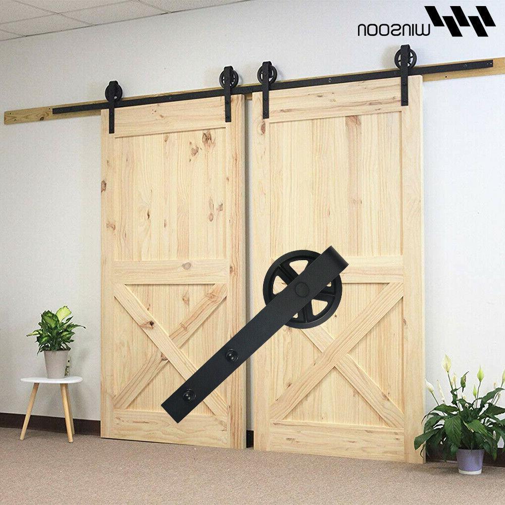 4-18FT Industrial Spoke Wheels Sliding Barn Door Hardware Ki