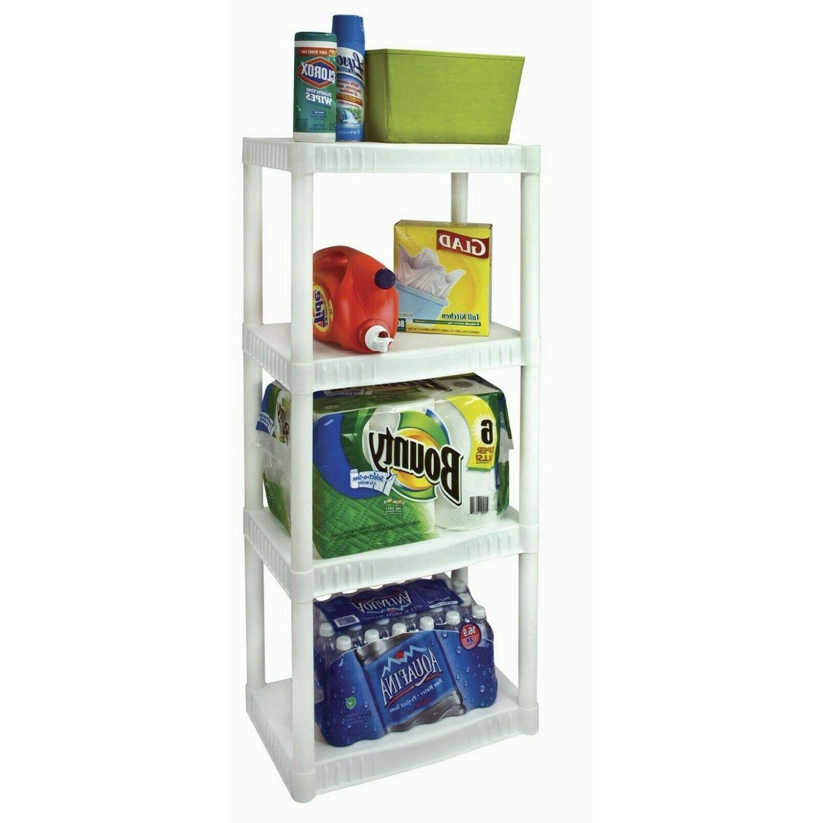Plano 4-Tier Heavy-Duty Plastic Shelves, White