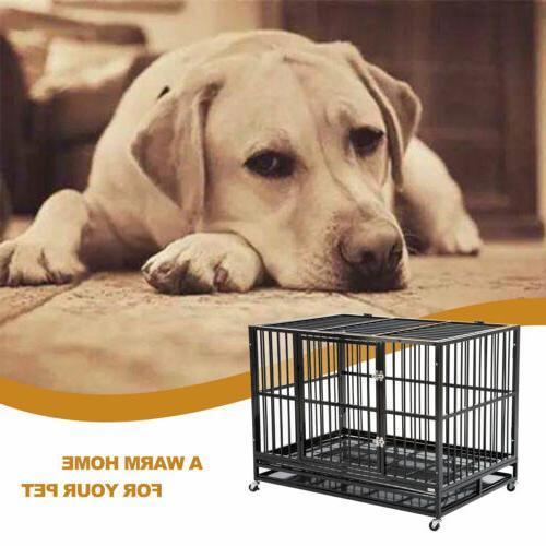 Chew Resistant Dog Pet Crate Bed Heavy Duty Kennel Metal Por
