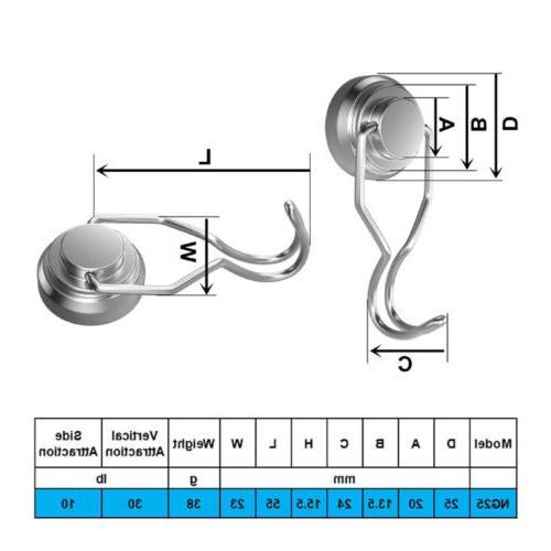 4PC Strong Magnetic Hooks Neodymium Heavy