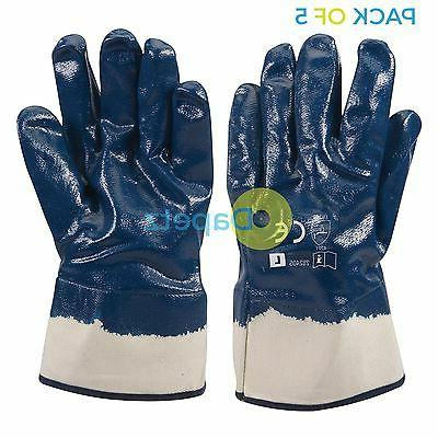 5 x jersey lined nitrile gloves high