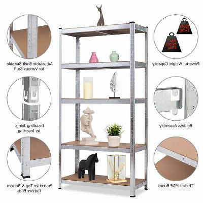 "72"" Heavy Storage Shelf Steel Rack 5 Shelves"
