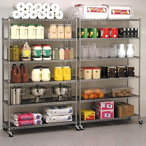"76"" 18"" Chrome Commercial Duty 6 Rack Shelf Steel Wire Metal Shelving Rack 3600 Capacity"