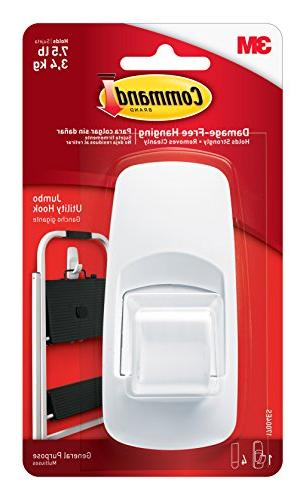 Command 17004 Jumbo Plastic Hook with Adhesive Strips, 1 Hoo