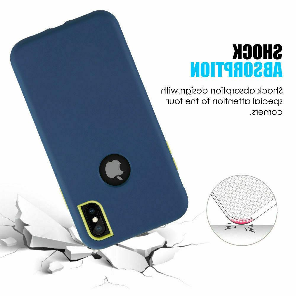 For iPhone XR 8 Plus Protective Silicon Heavy Duty Hybrid Case