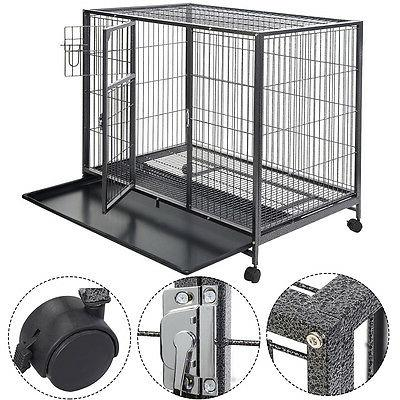 Goplus Black 44'' Dog Crate Kennel Heavy Duty Metal Wire Pet