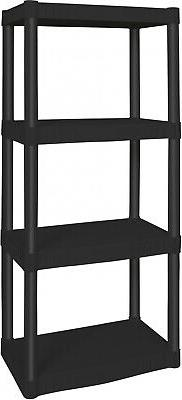 Black Heavy Duty 4-Tier Shelving Unit Home Office Plastic St