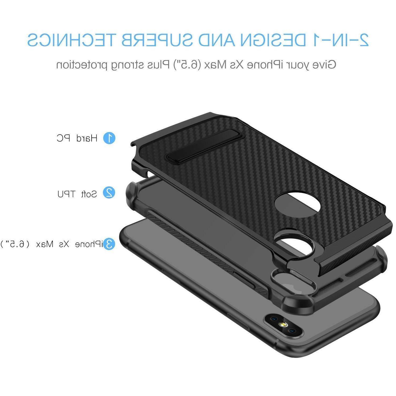 Fits Kickstand Heavy Shockproof Carbon Fiber Cover