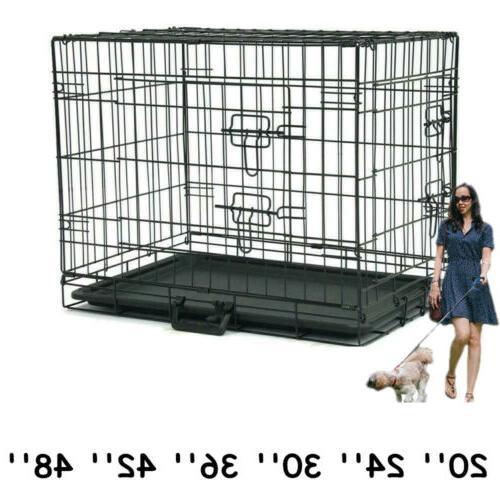 "Folding 48"" Heavy Duty Dog Cage Crate Kennel Metal Pet Porta"