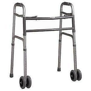 Cardinal Health Folding Walker Heavy-Duty, w/ Wheels, Adult,