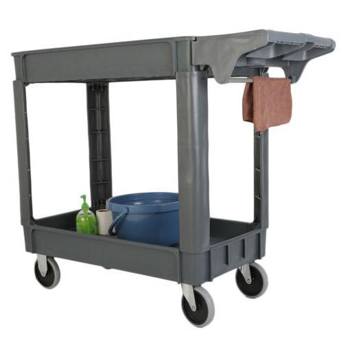 Plastic Utility Service Cart 2 Shelves Heavy Duty 550 LB Cap