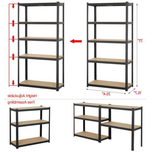 Heavy Garage Steel 5 Adjustable Shelves Rack