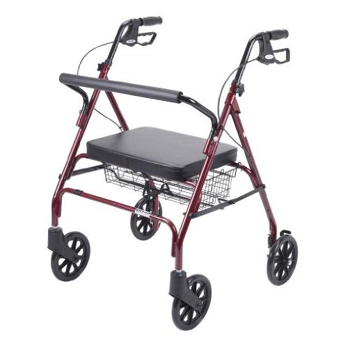 Heavy Duty Bariatric Red Rollator Walker With Large Padded S