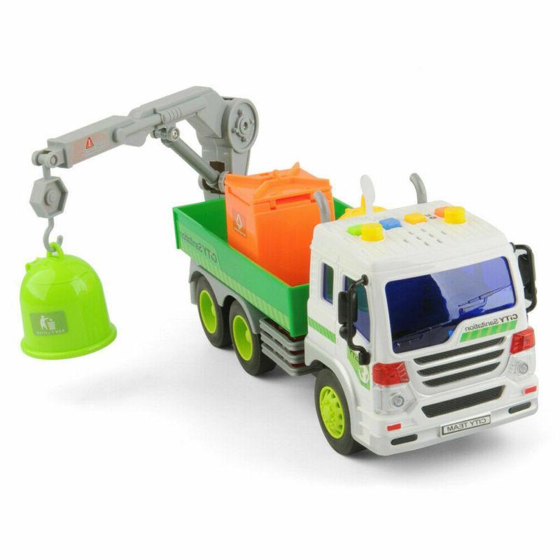 Heavy Lorry Trucks+3 Trash Cans Lights&Sound Cars Kids