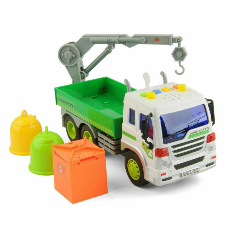 Heavy Sanitation Lorry Trash Cans Lights&Sound Cars Kids