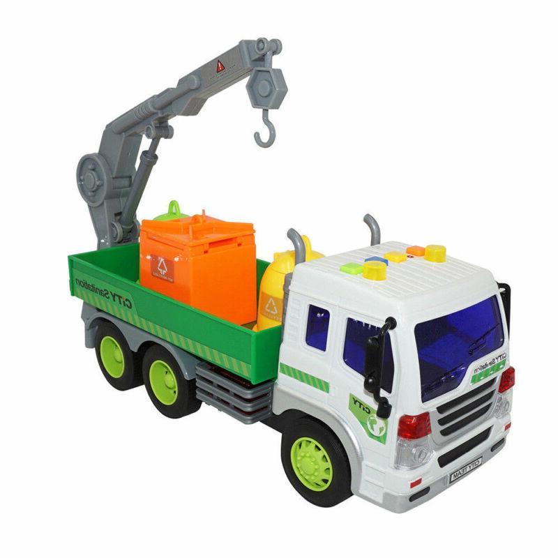 Heavy Duty City Sanitation Lorry Trucks Trash Cans Lights&Sound Cars Toys