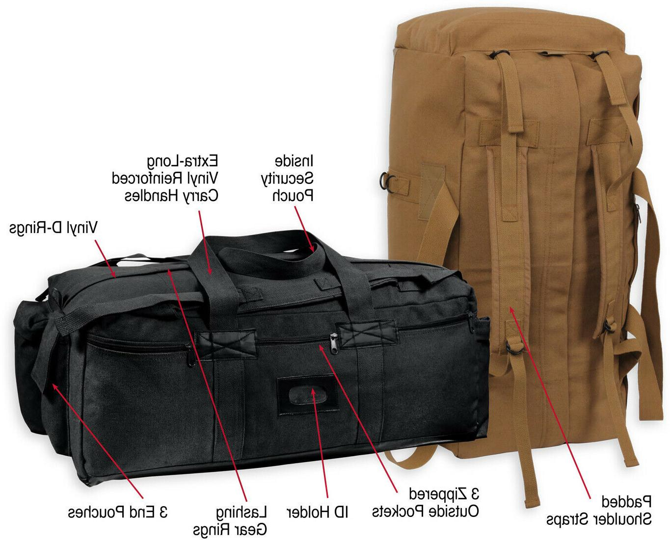 Heavy Duty Canvas Tactical Duffle Mossad Carry / Backpack