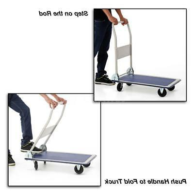 Heavy Hand Truck Folding Push Cart Trolley 4 wheels