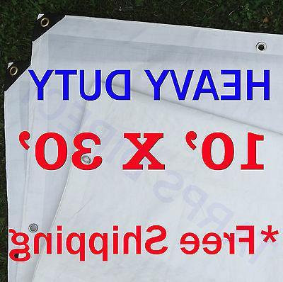 10 Ft. X 30 Ft. Heavy Duty 6 Oz. White Tarp 11-12 Mil Thick