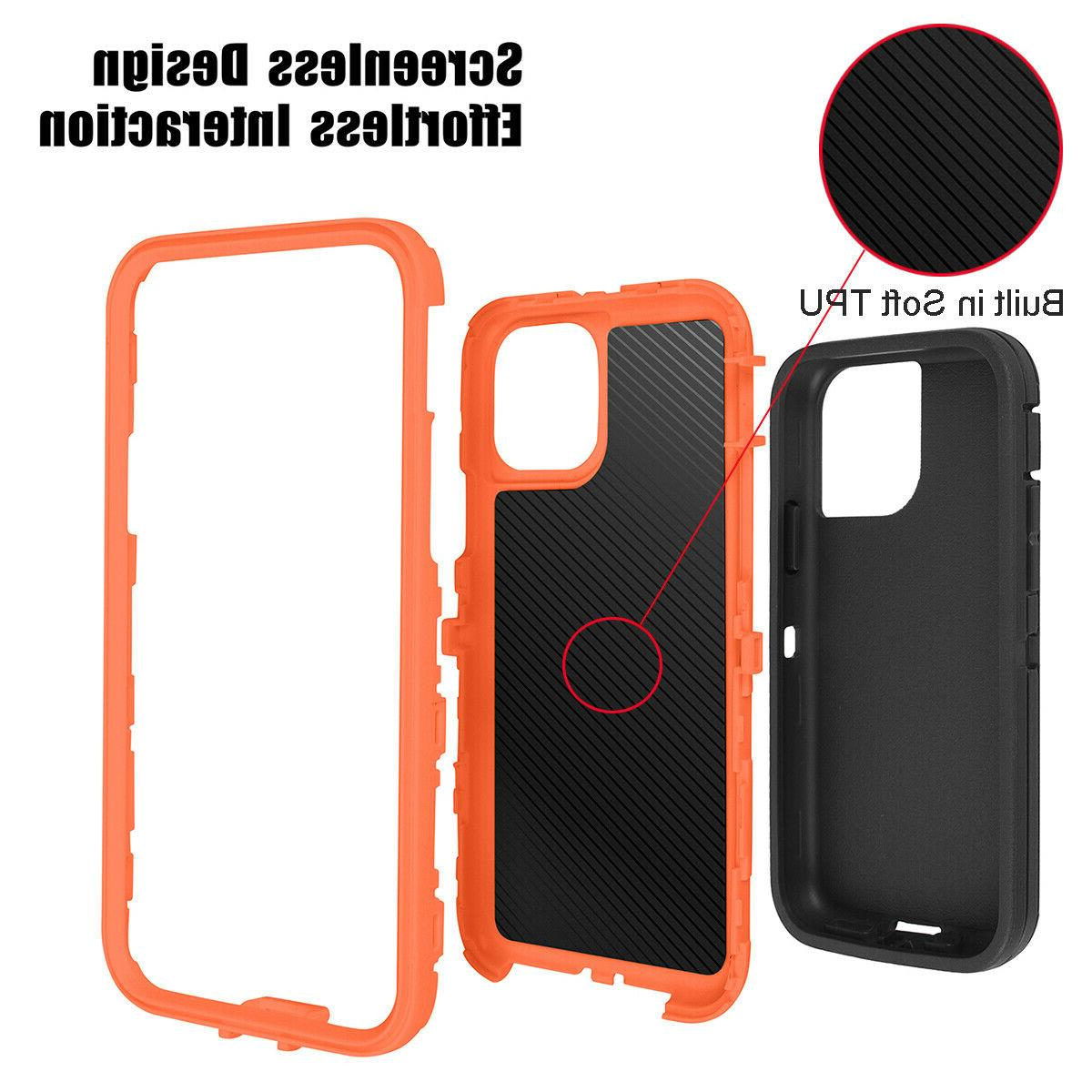 For iPhone Max Shockproof Hybrid Duty Full Cover W/ Belt Clip