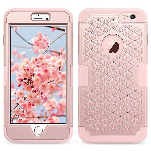 ULAK Case, iPhone Plus Case Heavy Duty Hybrid Hard PC Soft Protective for iPhone 6 5.5 inch,Rose