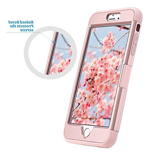 ULAK iPhone Case, Case Rhinestone Duty Shockproof Hybrid PC Soft Protective 6 Plus 5.5 inch,Rose