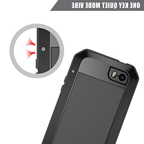 iPhone 6S Case Aluminum Alloy Metal Extreme Resistant Shockproof Military Bumper Heavy Cover Shell 6/6s - Black