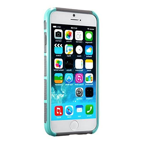 iPhone Non Slip Perfect-Fit 6 6S Plastic Protective Rubber Duty Layer Mint Cover and